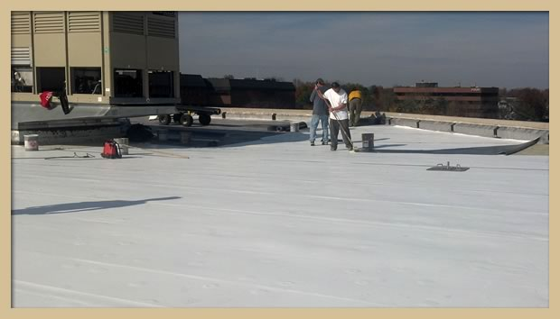 Application of the TPO membrane to the insulation board using bonding adhesive