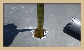 Core sampling tool to check for depth, existing moisture content, and current roofing composition.